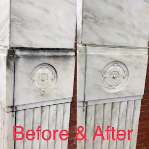pressure washing marble building